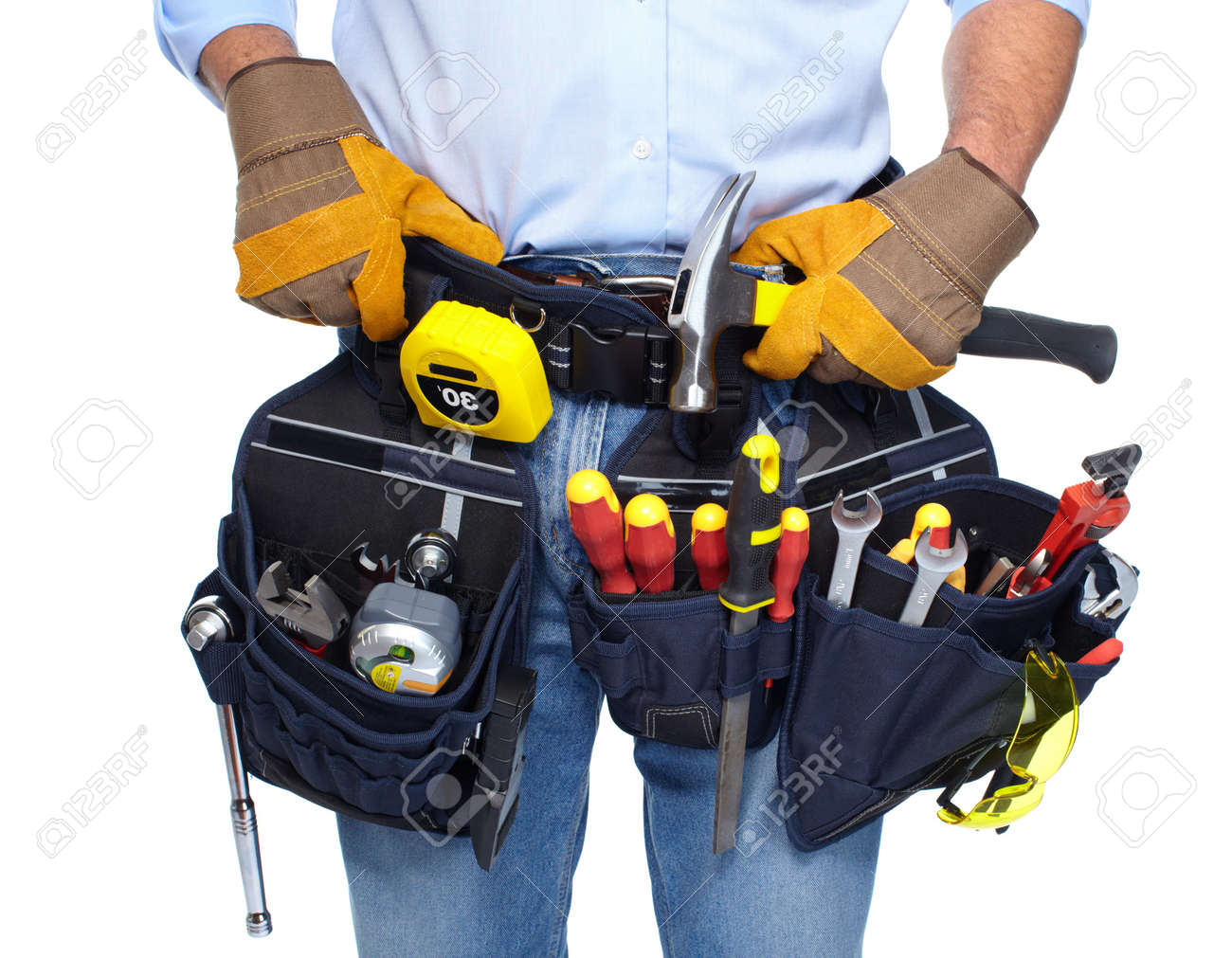Mychal's Garage & Closet 19354746-Worker-with-a-tool-belt--Stock-Photo-handyman-diy-renovation