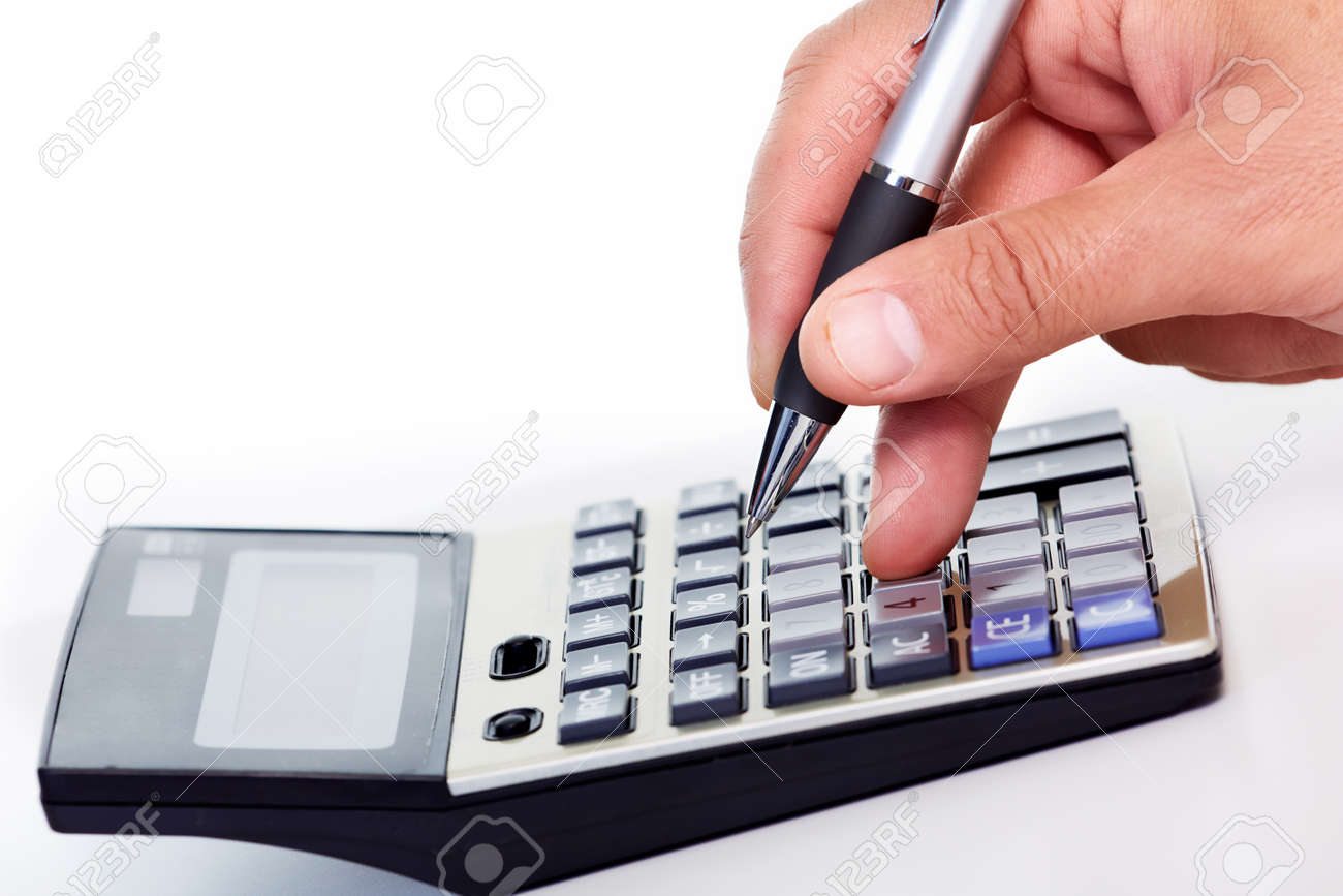 Hand with a calculator Stock Photo - 19354794