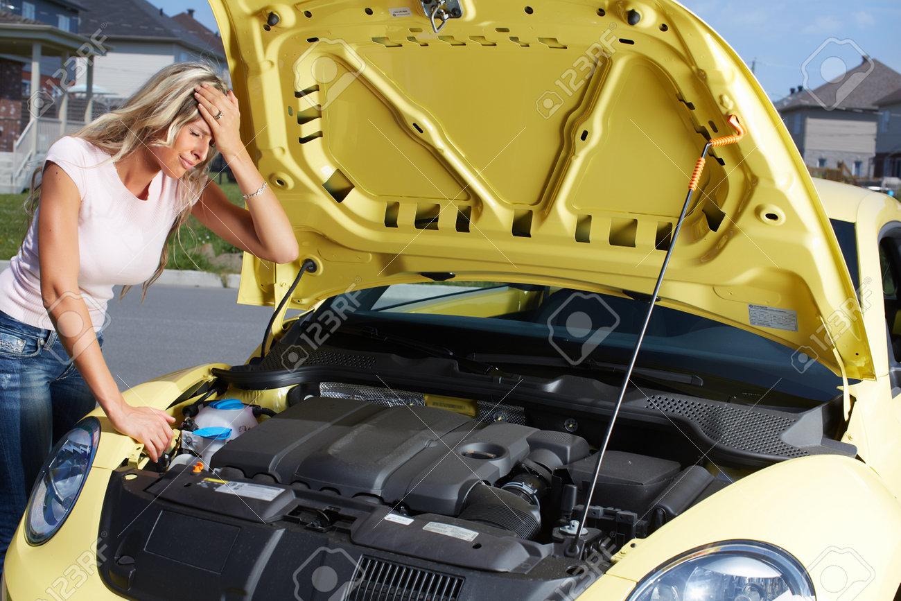 Auto Repair Nearby >> Woman Near Broken Car Auto Repair Service Concept