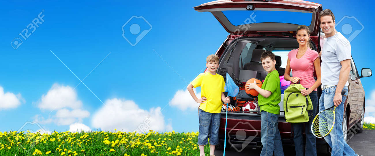 Happy family near new car. Camping concept background. - 22095993