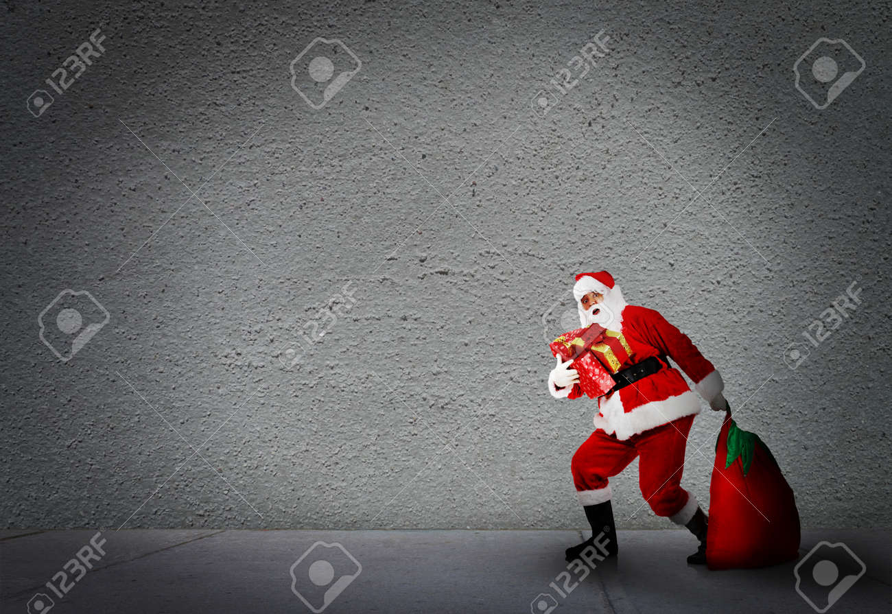 Christmas Santa With A Bag. Gifts Delivery Concept. Stock Photo ...