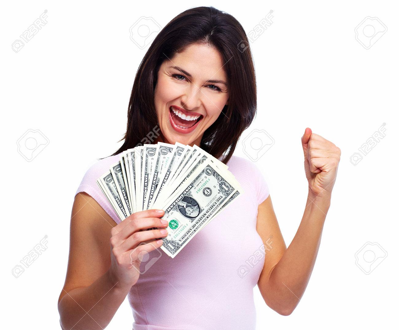 معدل دخل هذه الأبراج سيتضاعف في الـ 2019! 22724354-happy-young-smiling-woman-holding-cash-isolated-over-white-background