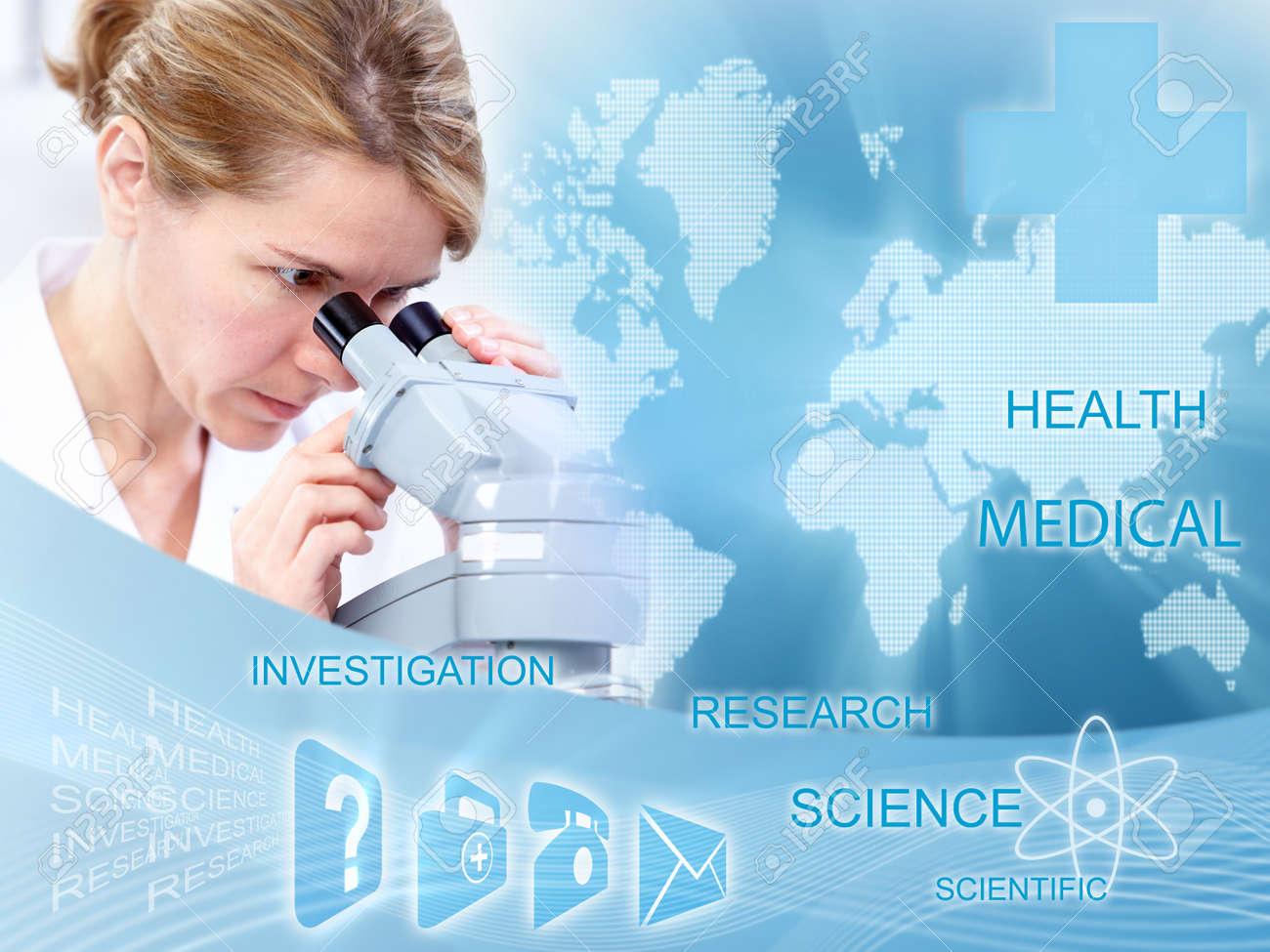 Doctor woman in laboratory  Scientific health care collage Stock Photo - 23487236