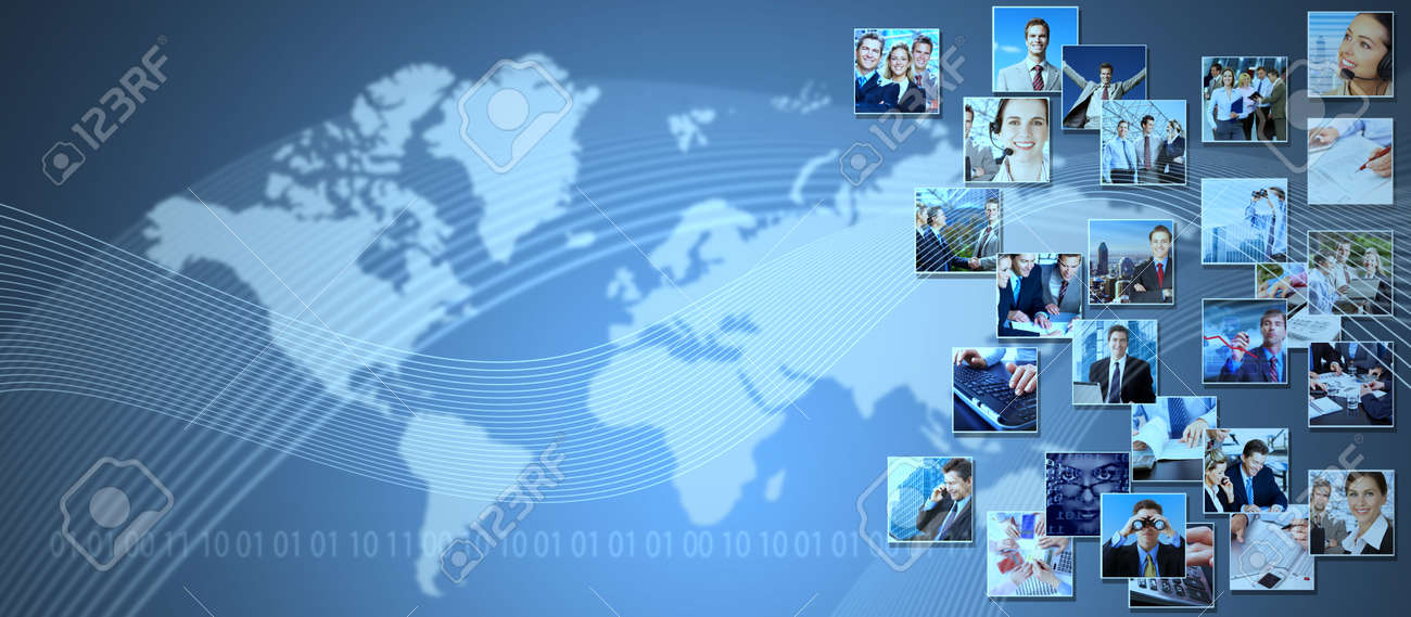 Business collage background. Media and communication technology background. - 22934811