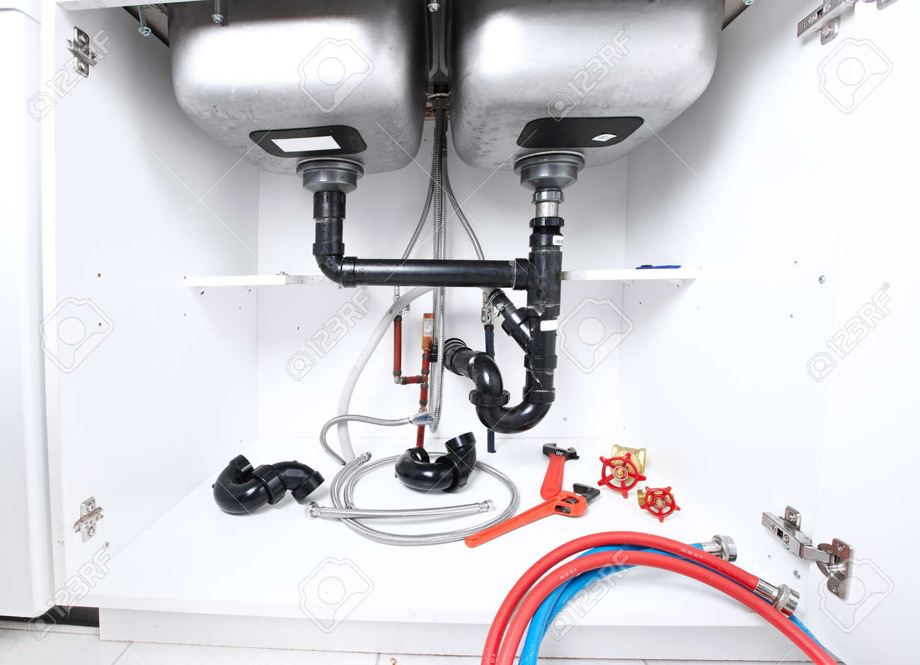Kitchen Sink Pipes And Drain Plumbing Service