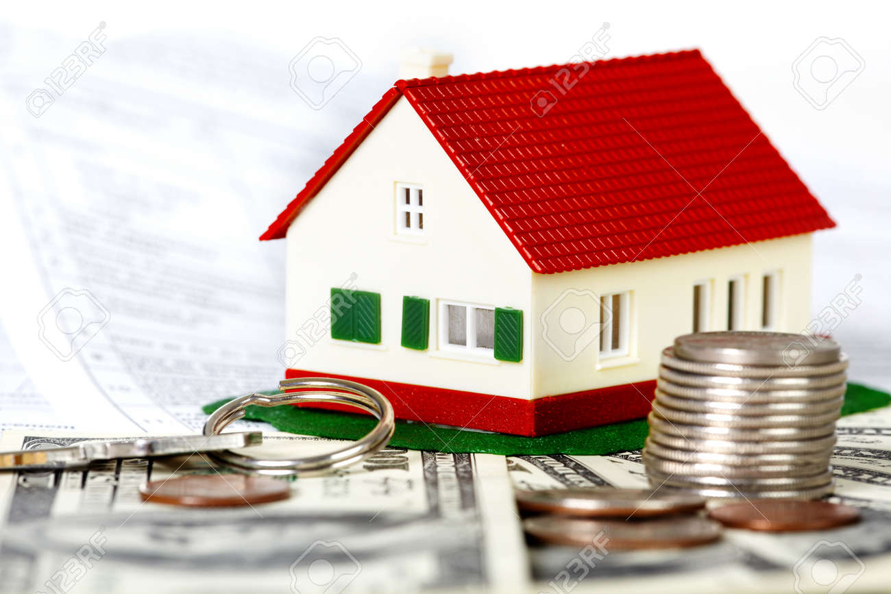Family house with money and contract. Real estate background. Stock Photo - 22874827