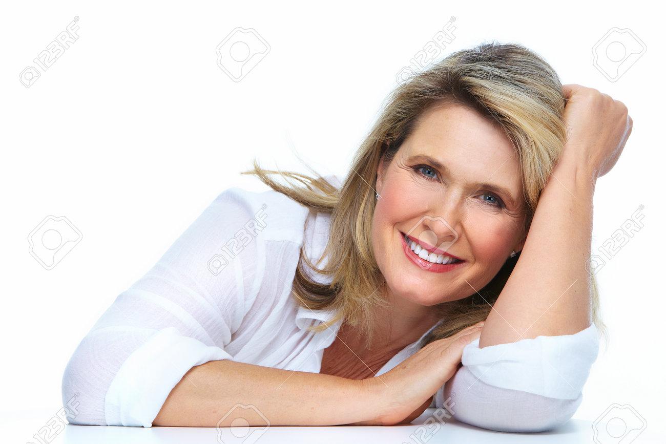 Beautiful elderly lady closeup isolated white background. Stock Photo - 24025562