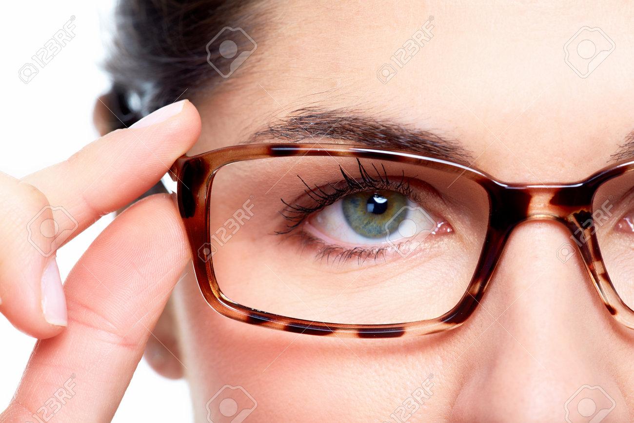 Eyeglasses. Woman wearing eyeglasses. Optometrist background. - 24024026