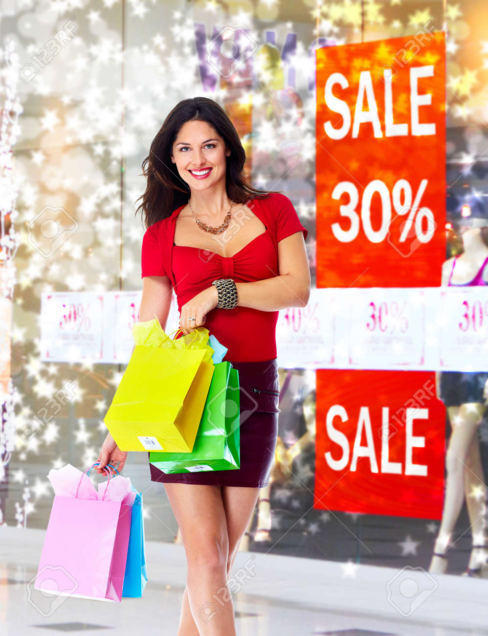 Young woman with shopping bags. Christmas sale. Stock Photo - 24048192