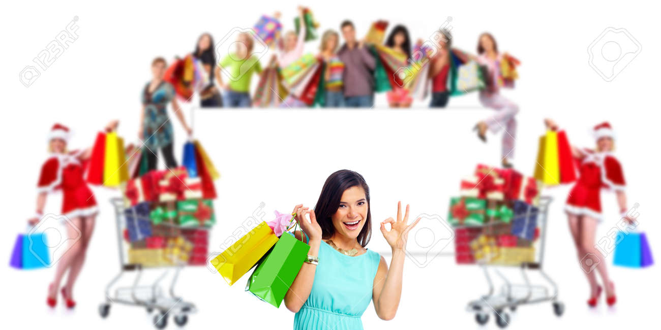 Woman with shopping bags over people group background Stock Photo - 24078900