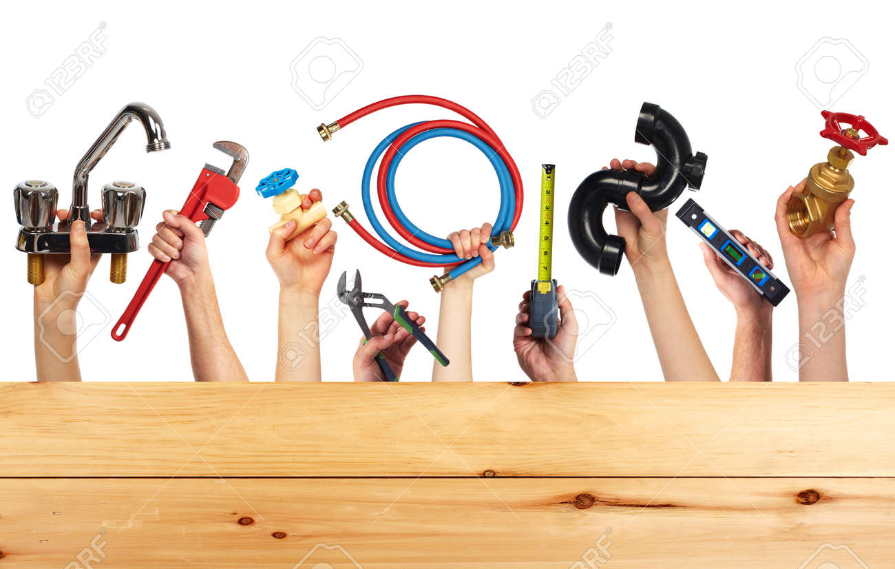 set of construction tools house renovation background stock