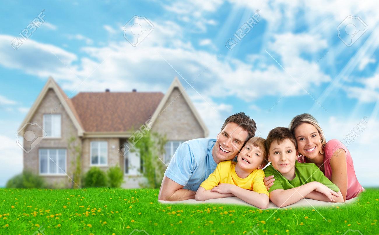 Family near new house. - 35820655