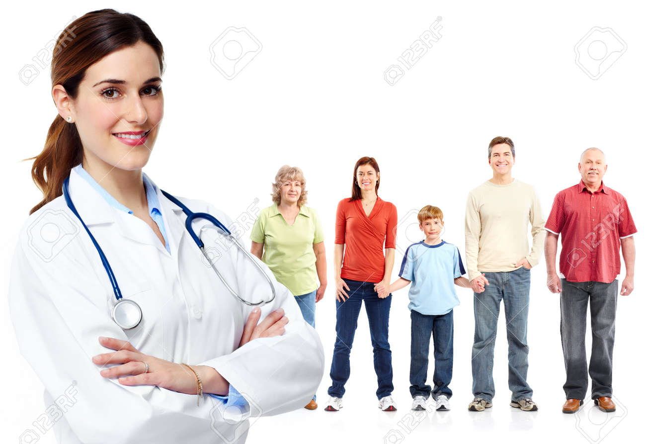 Medical family doctor and patients. Isolated white background. - 44873705