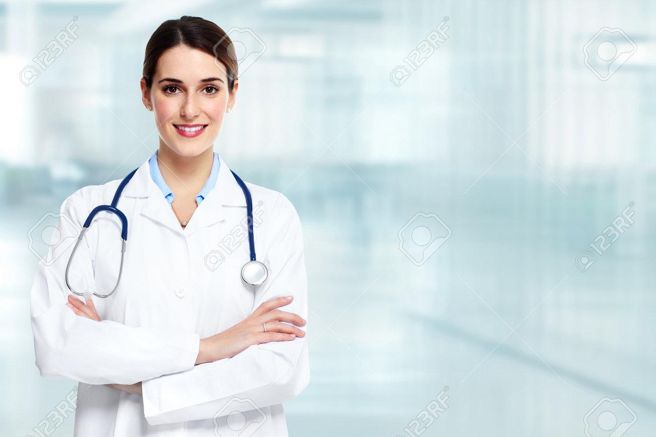 f6ad15272d66e Banque d images - Médical médecin médecin femme de plus de bleu clinique  fond.