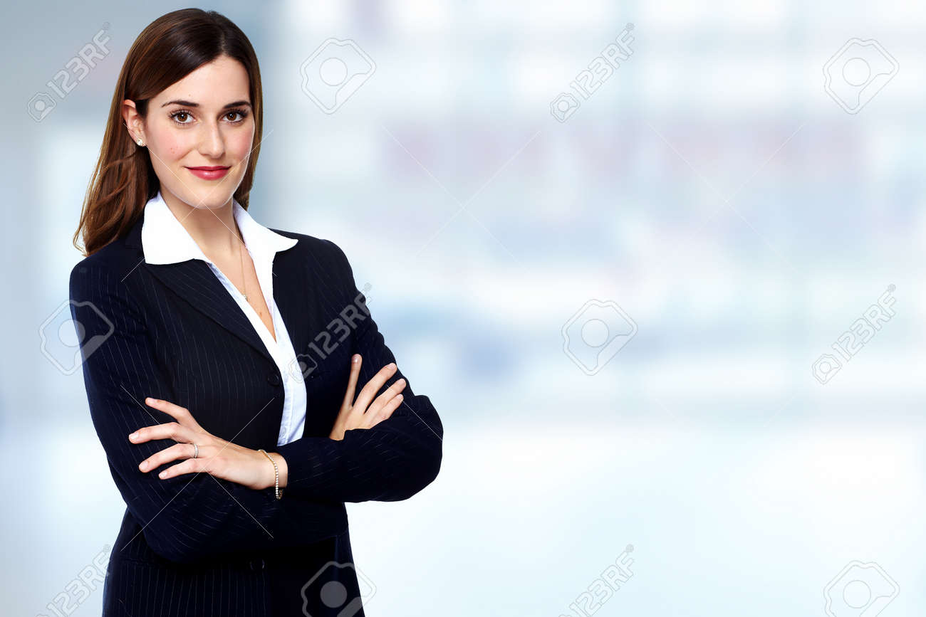 Beautiful young business woman. Accounting and finance background. Stock Photo - 45282211