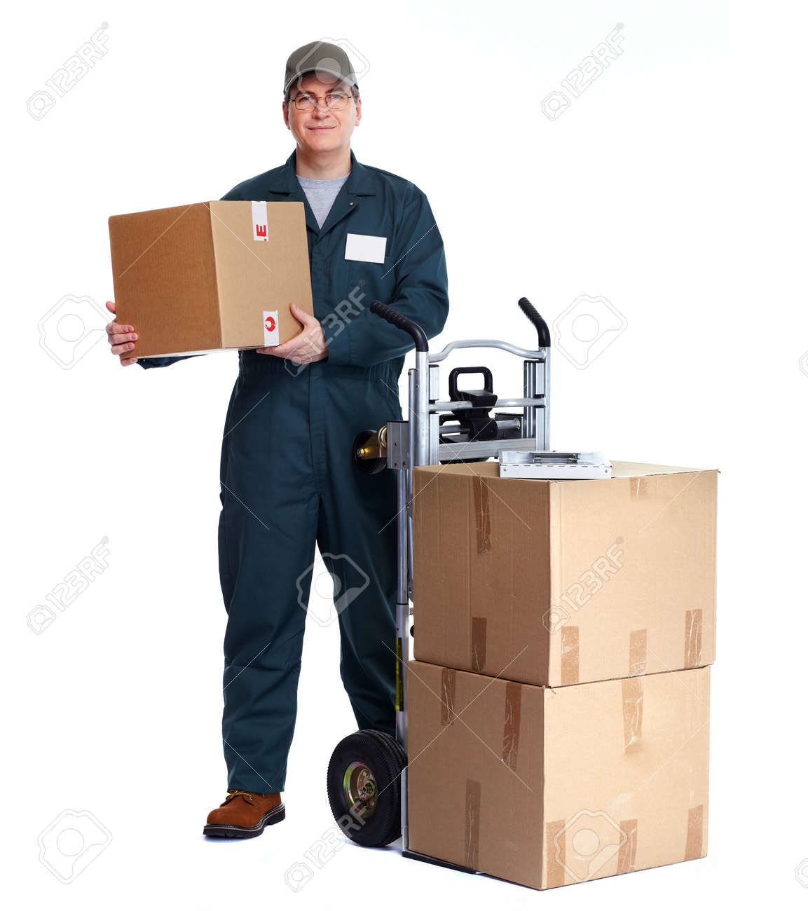delivery man with boxes express post shipping stock photo picture