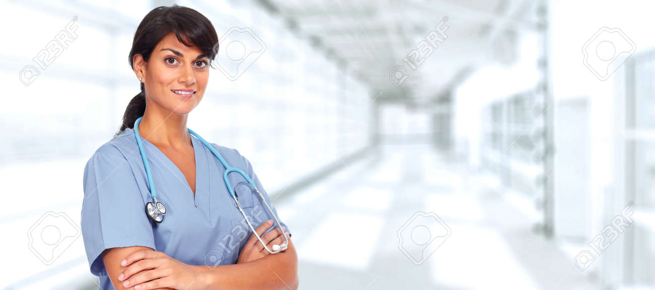 Asian medical doctor woman over hospital background. Stock Photo - 48269544