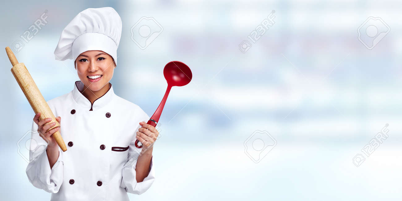 Beautiful Chef Woman Over Blue Banner Background Stock Photo Picture And Royalty Free Image Image 49254083