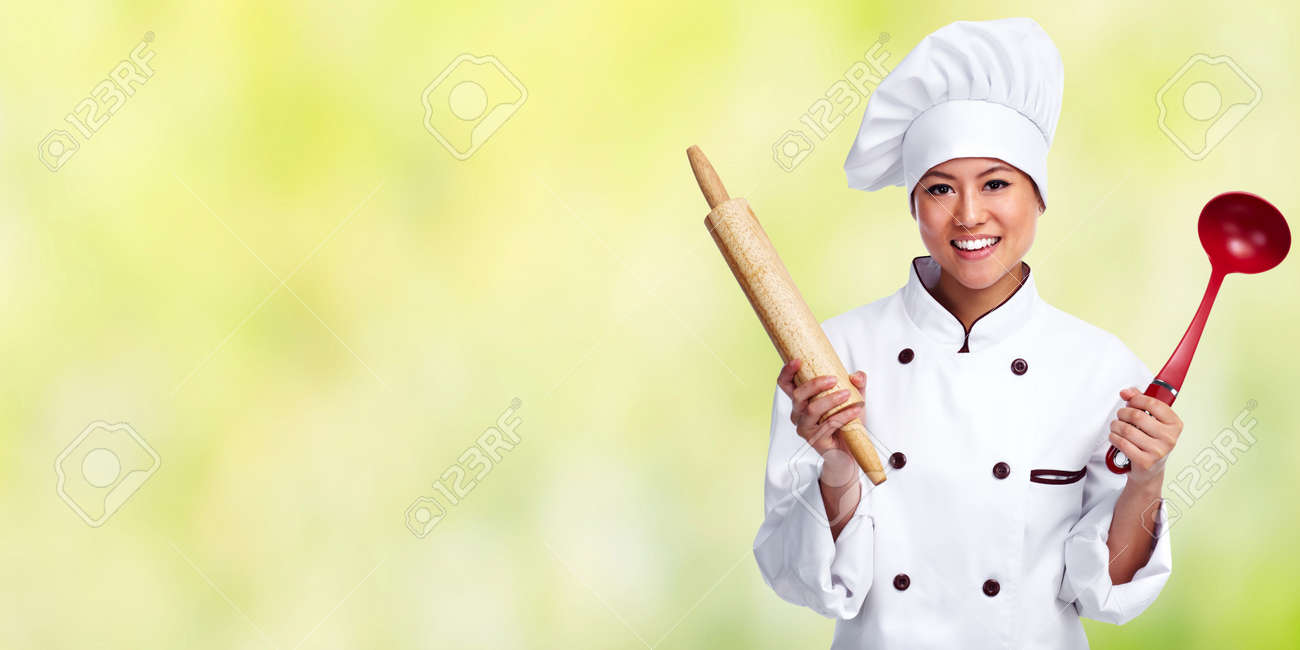 Beautiful Chef Woman Over Green Banner Background Stock Photo Picture And Royalty Free Image Image 49607265