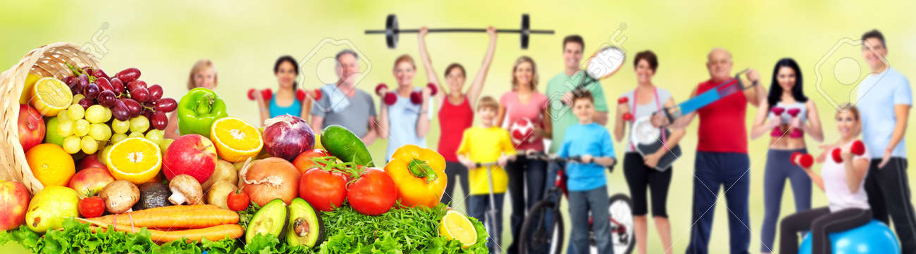 Group of fitness people with fruits and vegetables. Diet and weight loss banner. Stock Photo - 51262587