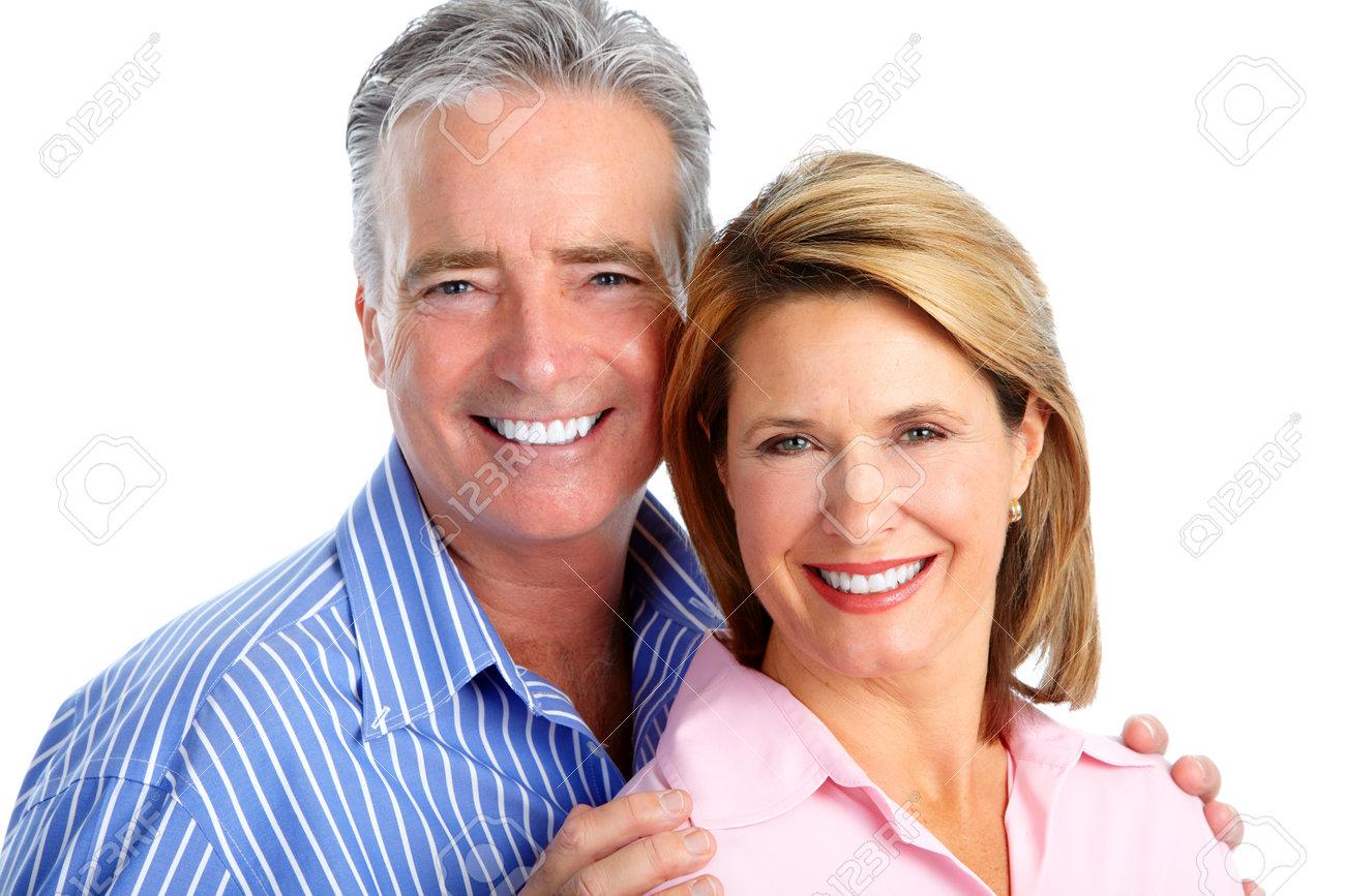 Happy laughing elderly couple isolated white background. Stock Photo - 51262821