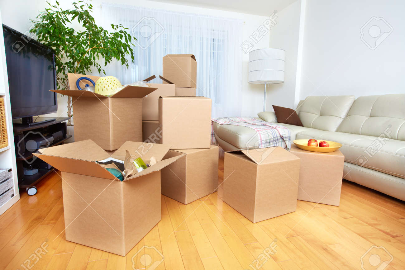 Moving boxes in new apartment. Real estate concept. Standard-Bild - 52424176