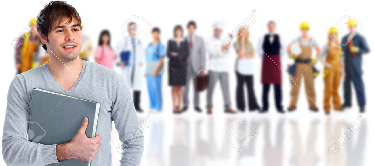 Group of young smiling students. Education concept background. - 52424289