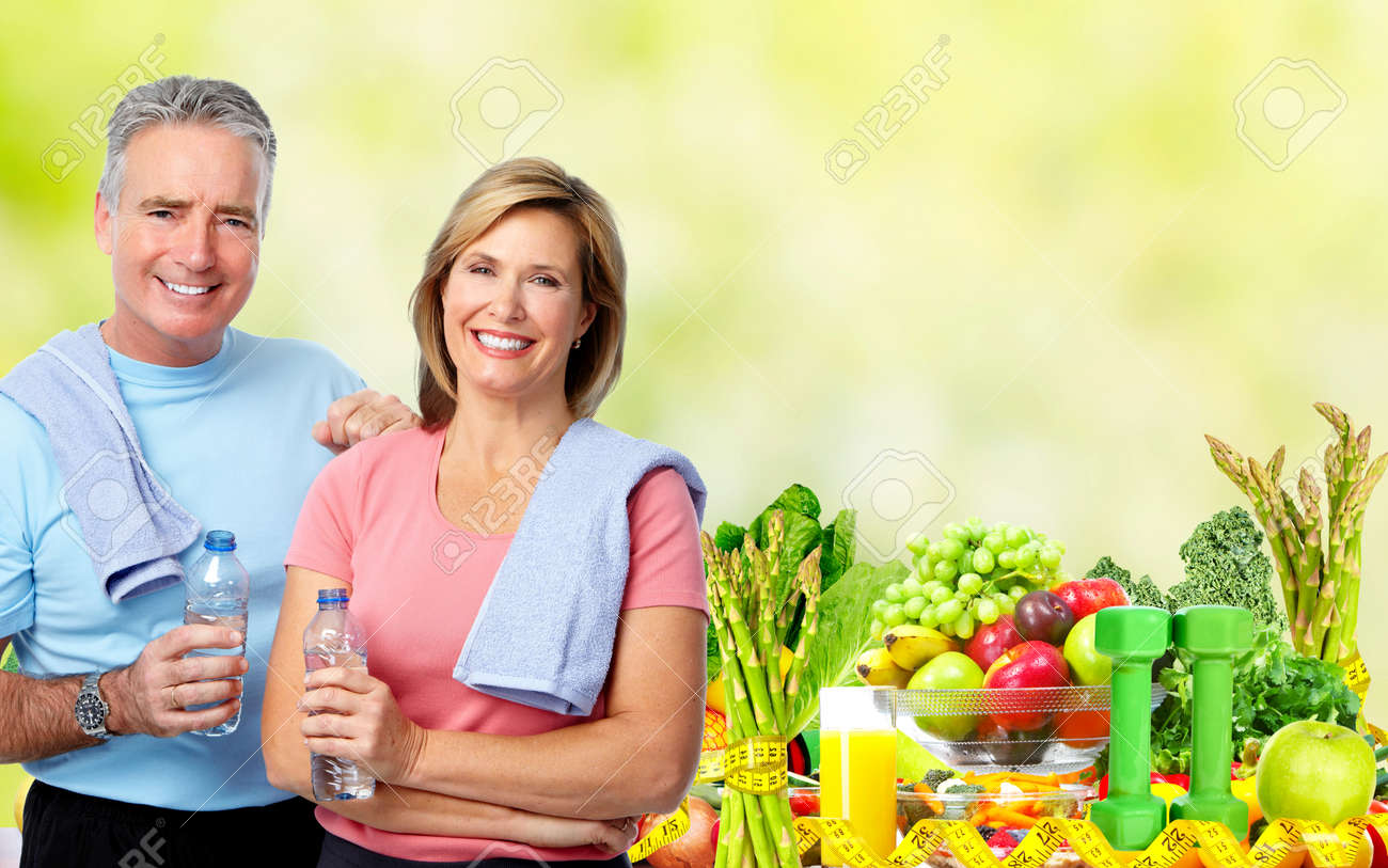 Senior man and woman with bottle of water. Dieting and sport background. Stock Photo - 52884969