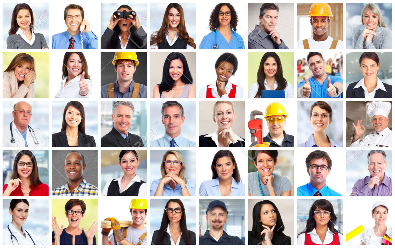 Business people workers faces collage background. Teamwork concept. - 52885295