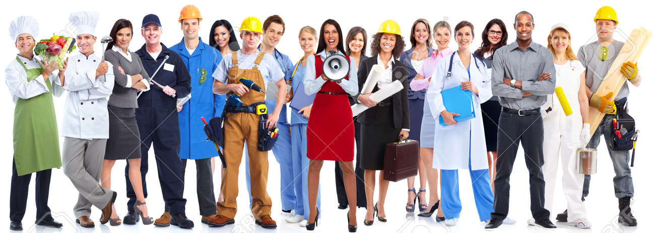 Group of workers people isolated over white background. - 53530158