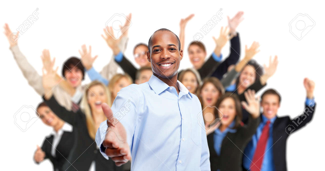 African-American Businessman and group of workers people. Stock Photo - 54382629