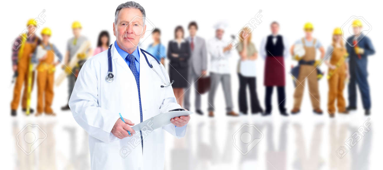 Senior doctor over family people group background. Stock Photo - 54382631