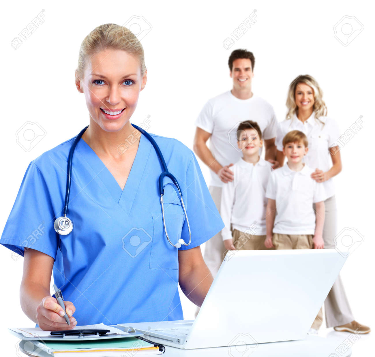 Family doctor woman and patients isolated over white background. Stock Photo - 54737612