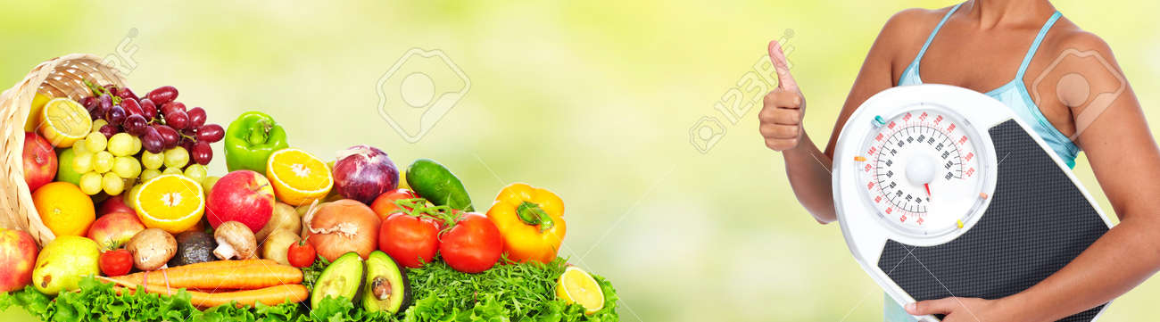 Young Woman With Scales Healthy Diet And Weight Loss Banner Stock