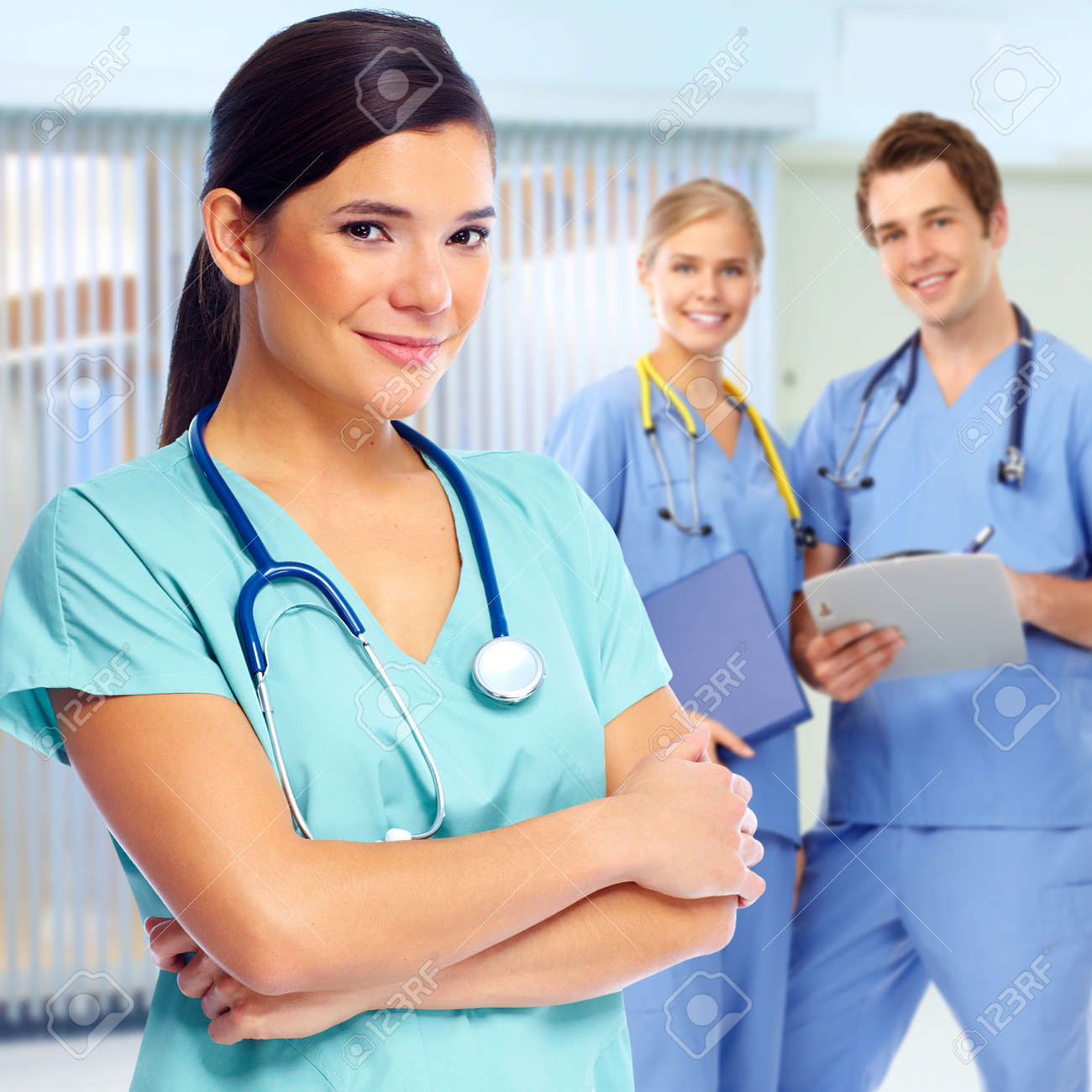 Group of doctors and nurses in medical clinic. Standard-Bild - 58074365