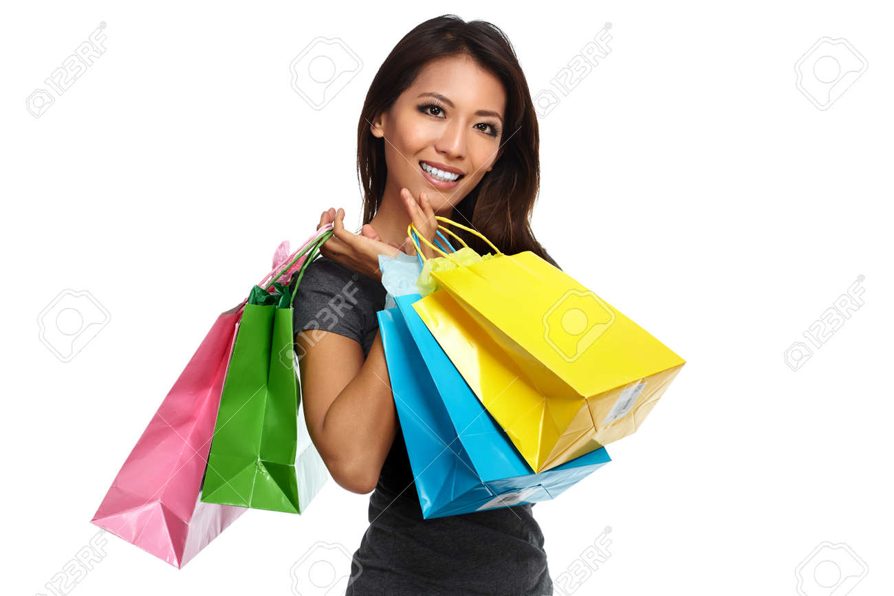 Happy Asian Girl Customer With Shopping Bags Isolated White ...