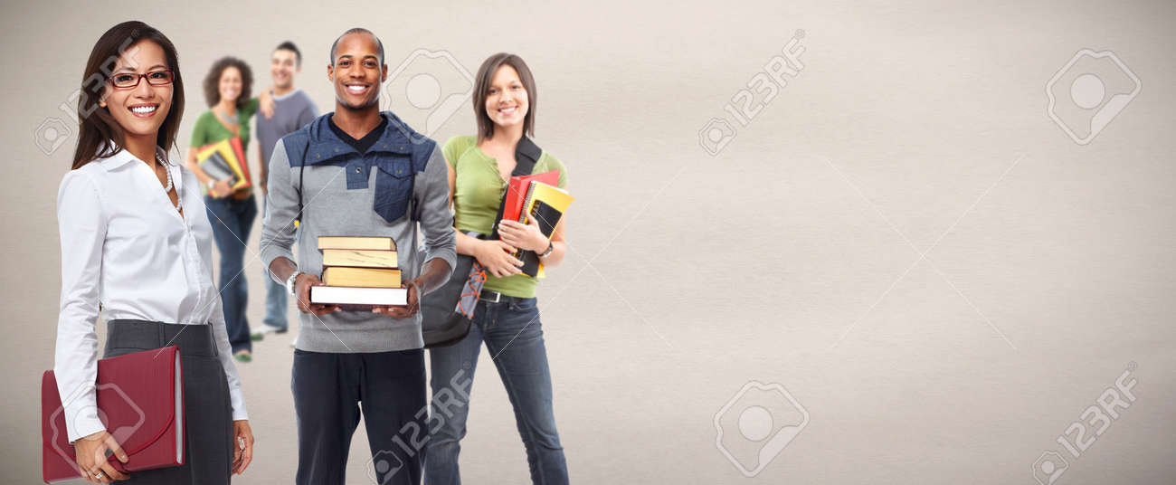 Group of young smiling students. Education concept background. Standard-Bild - 59361057