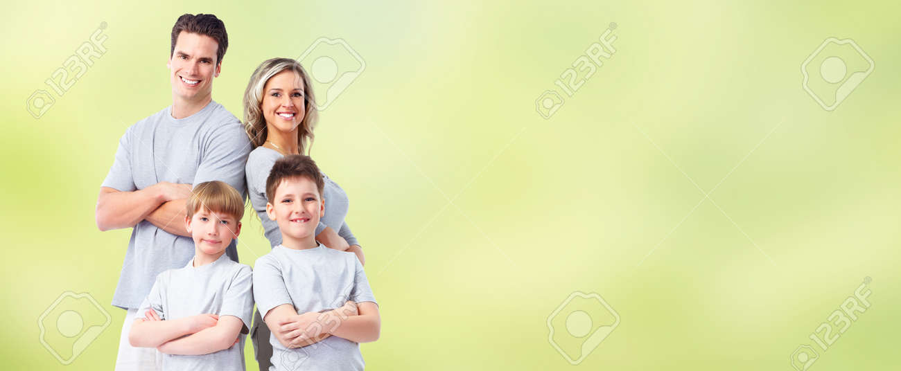 Happy family with kids over green abstract background. - 59362647
