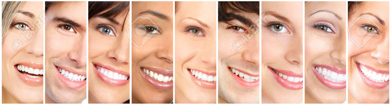 Happy people laughing faces collage. Close-up smile portrait. - 62268816