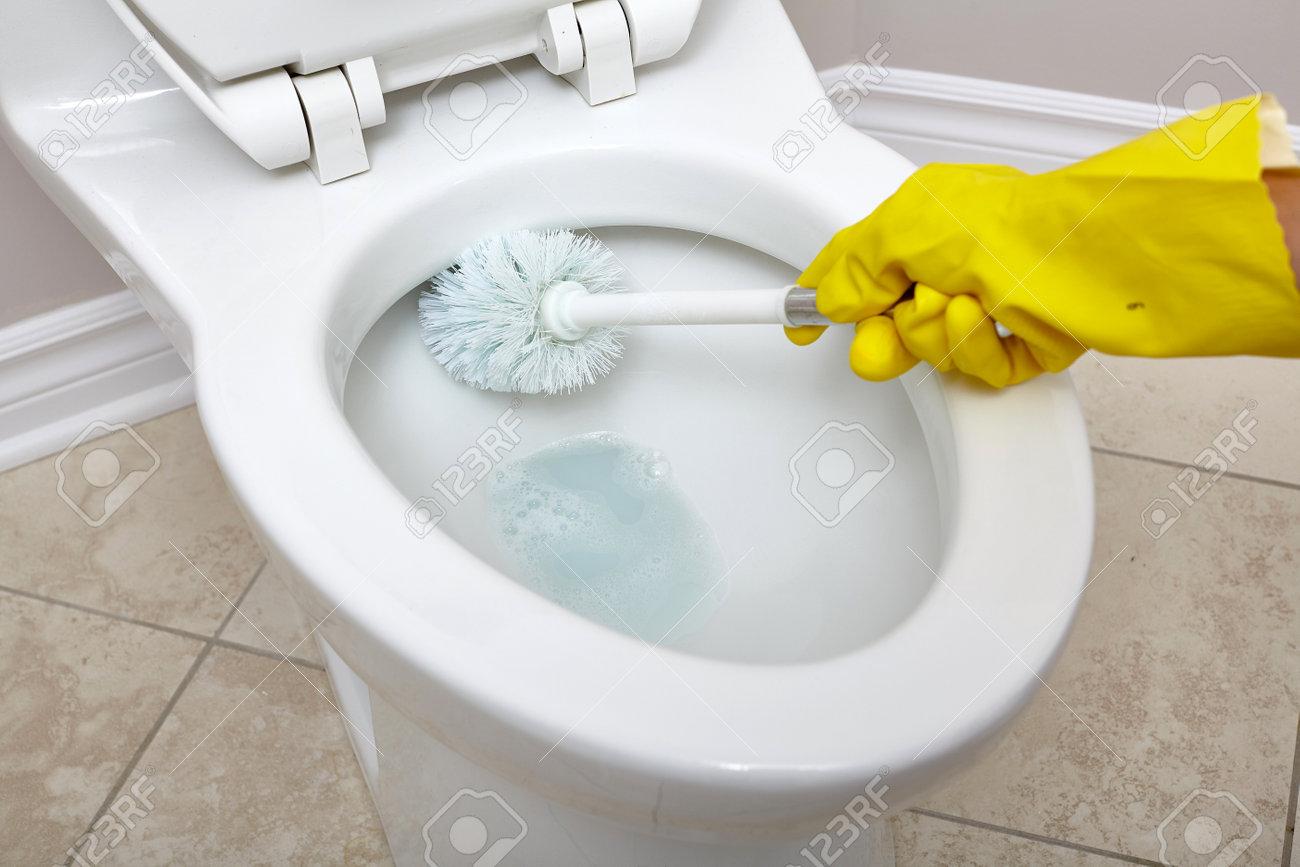 Flush Toilettenschüssel Mit Einem Pinsel Im Badezimmer Zu Reinigen ...