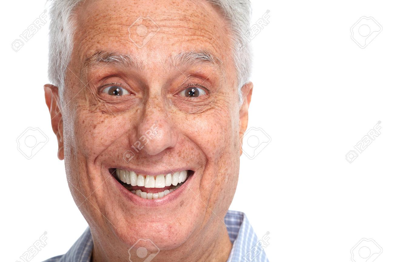 Happy smiling elderly man face smile isolated white backgorund. - 64123314