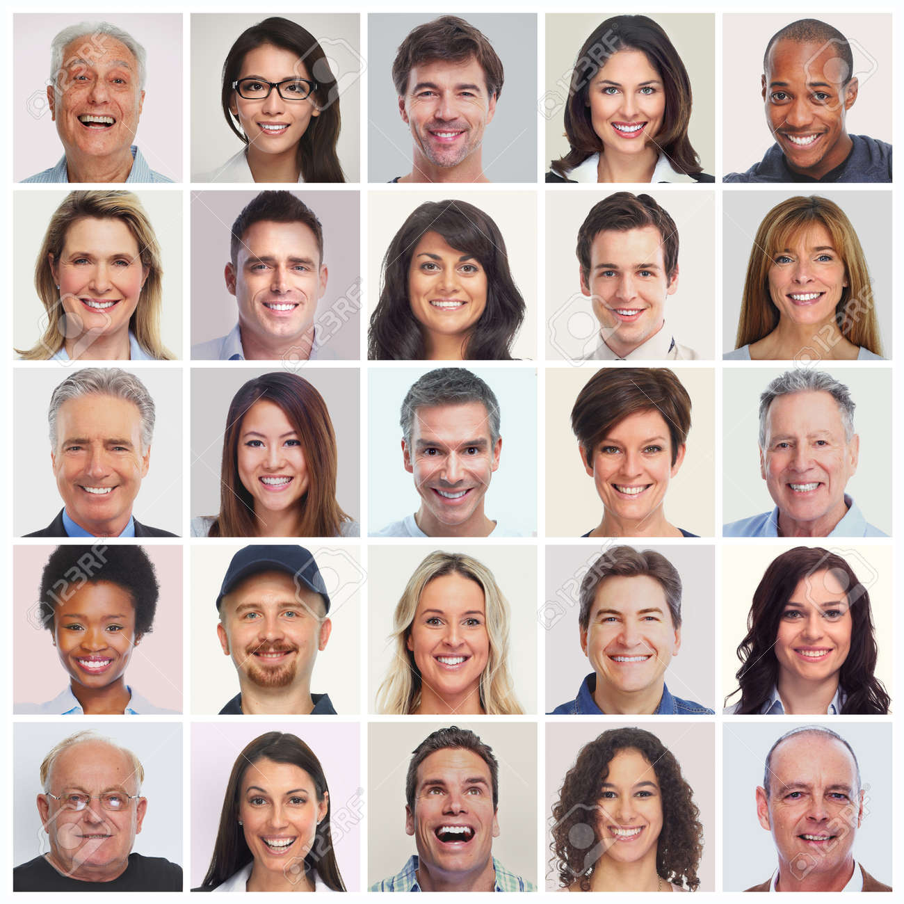 collection of smiling faces set of people men women seniors