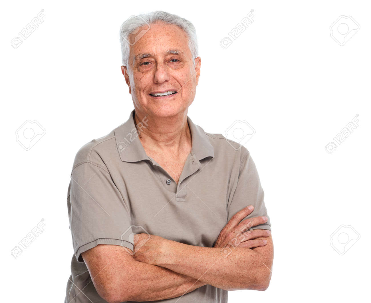 Smiling elderly man portrait isolated over white background. Standard-Bild - 64166612