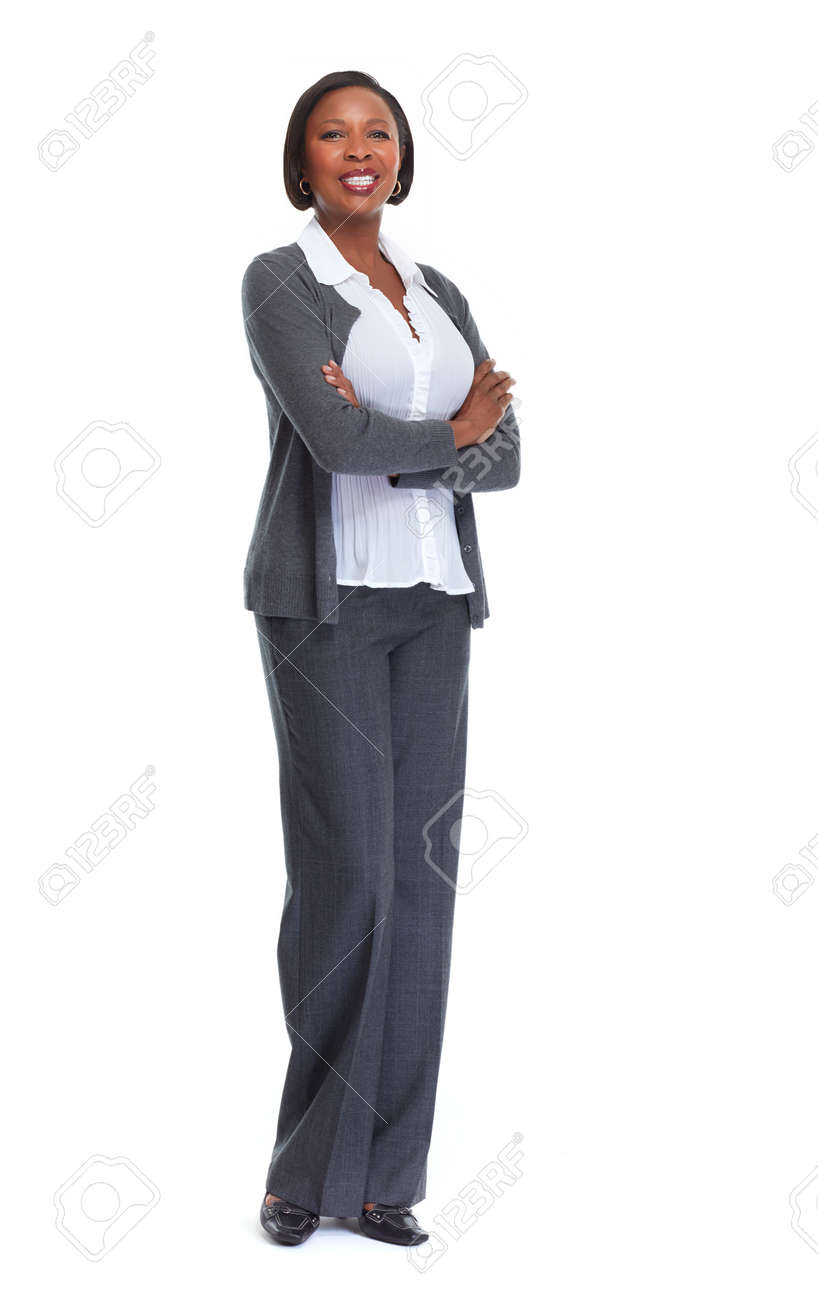 Beautiful afro american business woman isolated white background. Standard-Bild - 64516393