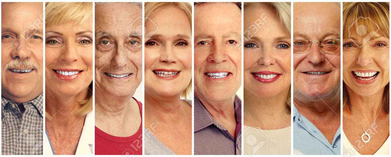 Set of smiling senior faces collection. Old people group. Stock Photo - 64886283