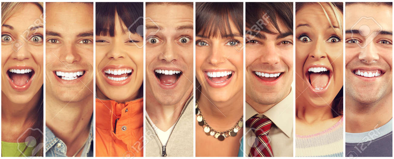 Set of happy laughing faces. People collection. Standard-Bild - 64886284