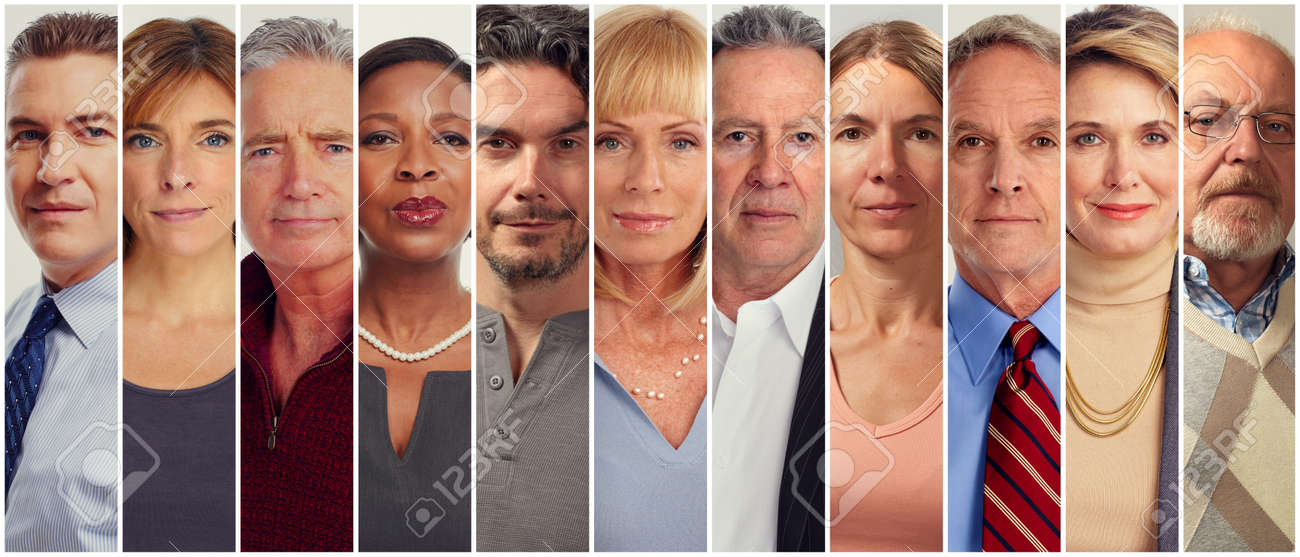 Set of serious adult mature aged people. Stock Photo - 64749356