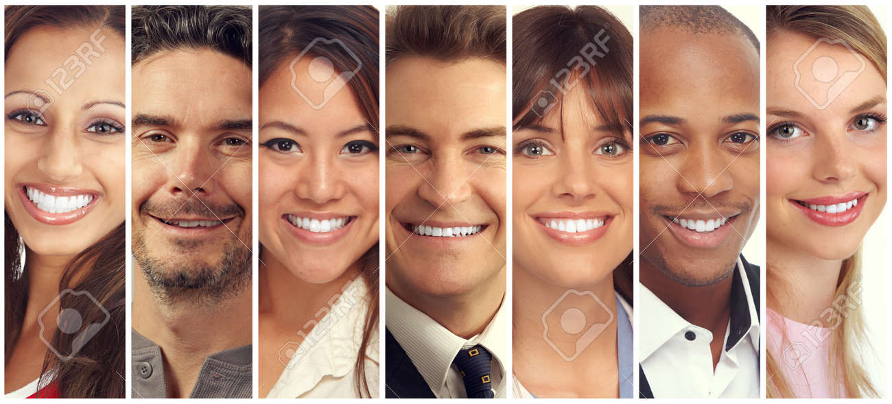 set of happy laughing people smiling faces collection stock photo