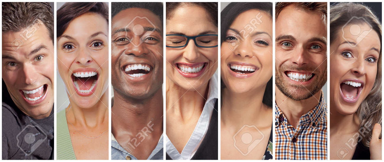 Set of happy laughing people. Smiling faces collection. Teeth whitening - 64938088
