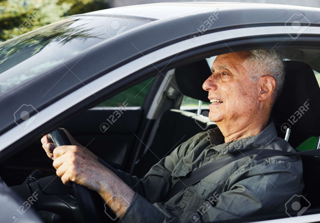Old Man Car Driver In Vehicle. Transportation Insurance Concept ...
